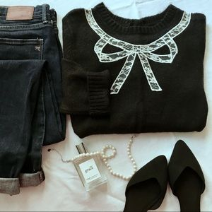 Forever 21 charcoal lace bow button crew sweater